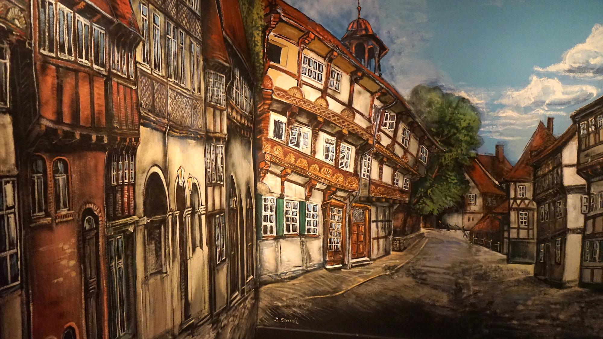 Wandgemälde im Treppenhaus des Heimatmuseums Hornburg: Blick in die Wasserstraße / Beate Ziehres